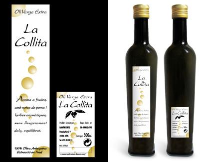 Etiquetas aceite La Collita Fonts. Reus.